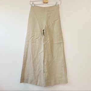 Theory Linen Terena B Wide Leg Flare Cropped Pants